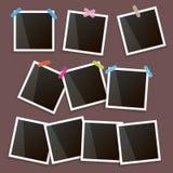 Sistema del bastidor de la foto del vintage con la sombra aislada en fondo marrón Vector las maquetas realistas de la foto con el Fotografía de archivo libre de regalías