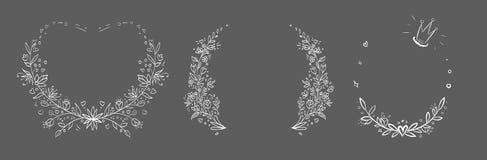Sistema del bastidor floral dibujado mano del vector Fotografía de archivo libre de regalías