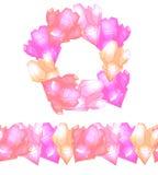 Sistema del bastidor redondo con los cristales rosados multicolores lindos con puntos culminantes y la frontera inconsútil ilustración del vector