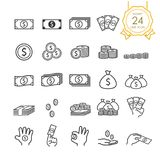Sistema del billete de banco, moneda, bolso y línea disponible icono del dinero del dinero para el sitio web, infographic o el ne stock de ilustración
