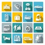 Sistema del blanco de los iconos del taxi Foto de archivo libre de regalías