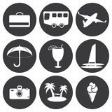Sistema del blanco del vector de iconos del viaje Fotografía de archivo