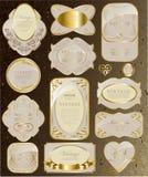 Sistema del blanco y de la cinta del oro stock de ilustración