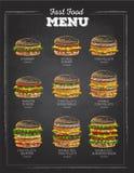 Sistema del bocadillo del dibujo de tiza del vintage Men? de los alimentos de preparaci?n r?pida Fotografía de archivo libre de regalías