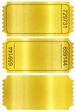 Sistema del boleto. Trozos de boleto de oro aislados en blanco imágenes de archivo libres de regalías