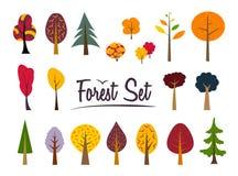 Sistema del bosque del color del otoño del vector Imágenes de archivo libres de regalías