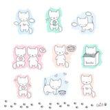 Sistema del bosquejo con los gatos Foto de archivo