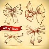 Sistema del bosquejo de arcos Ilustración del vector Arcos y cintas en la textura de papel Foto de archivo libre de regalías