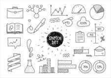 Sistema del bosquejo de elementos dibujados mano infographic y ilustración del vector