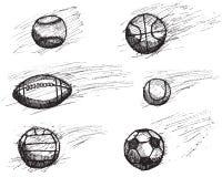 Sistema del bosquejo de la bola con la sombra y el efecto dinámico aislado sobre el fondo blanco Fotografía de archivo libre de regalías