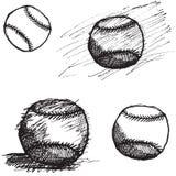 Sistema del bosquejo de la bola del béisbol aislado en el fondo blanco Imagenes de archivo