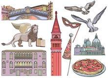 Sistema del bosquejo de las atracciones turísticas de Venecia Ilustración del vector imagenes de archivo