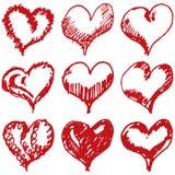 Sistema del bosquejo de los corazones de la tarjeta del día de San Valentín aislado en el fondo blanco Imagen de archivo