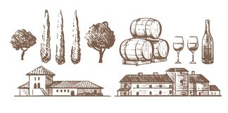 Sistema del bosquejo de los elementos del lagar, barriles de vino, una botella de vidrios, chalets del edificio ilustración del vector