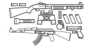 Sistema del bosquejo de los iconos del arma Fotos de archivo libres de regalías