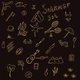 Sistema del bosquejo de objetos del verano Fotografía de archivo libre de regalías