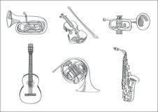 Sistema del bosquejo del vector de instrumentos musicales Foto de archivo
