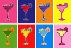 Sistema del bosquejo dibujado mano coloreado Margarita Cocktail Drinks Vector Illustration Fotos de archivo libres de regalías