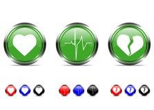 Sistema del botón con el corazón ilustración del vector
