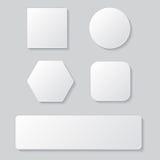 Sistema del botón en blanco blanco Botones redondeados cuadrado redondo Imágenes de archivo libres de regalías