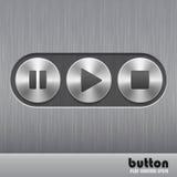 Sistema del botón redondo del metal con textura cepillada y símbolos del juego, de la parada y de la pausa Fotos de archivo libres de regalías