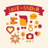 Sistema del buscador del amor de los iconos Fotos de archivo