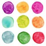 Sistema del círculo colorido de la acuarela. Elemnts del diseño imagen de archivo libre de regalías