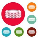 Sistema del círculo de los iconos de la moneda de oro stock de ilustración