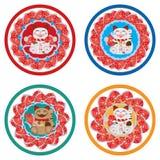 Sistema del círculo del koi de Maneki Imagen de archivo