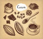 Sistema del cacao y del chocolate ilustración del vector