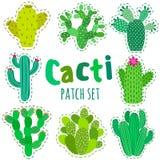 Sistema del cactus del remiendo del vector de la diversión Imprima el perno, insignia, etiqueta engomada, colección Imagen de archivo libre de regalías
