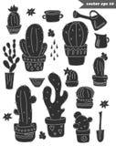 Sistema del cactus formado negro Fotos de archivo libres de regalías