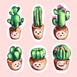 Sistema del cactus lindo del bordado de la venta en iconos de los potes con sonrisa Fotografía de archivo libre de regalías