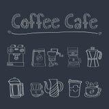 Sistema del café del café del garabato stock de ilustración