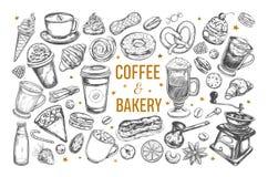 Sistema del café y de la panadería stock de ilustración