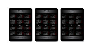 Sistema del calendario del bolsillo del vector 2018, 2019 y 2020 años Plantilla negra del diseño con el lugar de la publicidad stock de ilustración