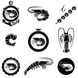 Sistema del camarón. Vector Imagenes de archivo