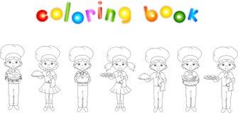 Sistema del camarero, del cocinero y del cocinero de la historieta Libro de colorear para los niños Foto de archivo libre de regalías