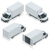 Sistema del camión de los iconos para el cargo del transporte Van para el carro del cargo Coche de entrega Ejemplo isométrico del Imagen de archivo libre de regalías