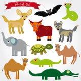 Sistema del carácter divertido de los animales de la historieta en el fondo blanco zoo Imagen de archivo