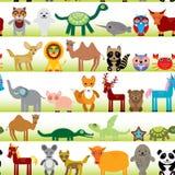 Sistema del carácter divertido de los animales de la historieta en el fondo inconsútil blanco Fotografía de archivo libre de regalías
