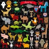 Sistema del carácter divertido de los animales de la historieta en fondo negro zoo libre illustration