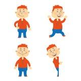 Sistema del carácter feliz del estudiante del vector Imagen de archivo libre de regalías