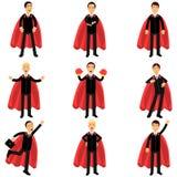 Sistema del carácter del hombre de negocios en trajes negros clásicos con los cabos rojos del super héroe Oficinistas acertados e stock de ilustración