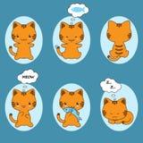 Sistema del carácter lindo del gato de la historieta de las etiquetas engomadas del gato Imagen de archivo libre de regalías