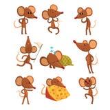 Sistema del carácter del ratón de la historieta en diversas acciones Corriendo con la barrido-red, durmiendo, comiendo el queso,  Fotos de archivo