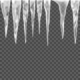 Sistema del carámbano del hielo en un fondo transparente Imagenes de archivo