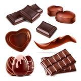 Sistema del caramelo de chocolate tajado pedazo libre illustration