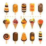 Sistema del caramelo de la piruleta de Halloween Imagen de archivo