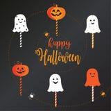 Sistema del caramelo de la piruleta de Halloween Foto de archivo libre de regalías
